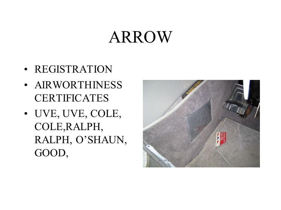 ARROW REGISTRATION AIRWORTHINESS CERTIFICATES UVE, UVE, COLE, COLE,RALPH, RALPH, O'SHAUN, GOOD,