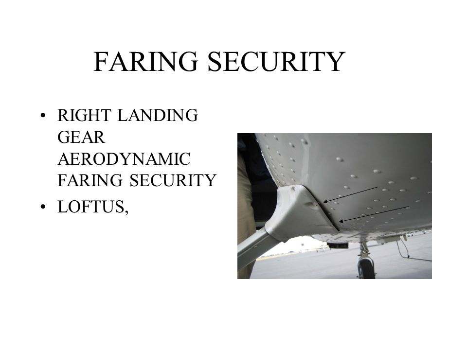 FARING SECURITY RIGHT LANDING GEAR AERODYNAMIC FARING SECURITY LOFTUS,