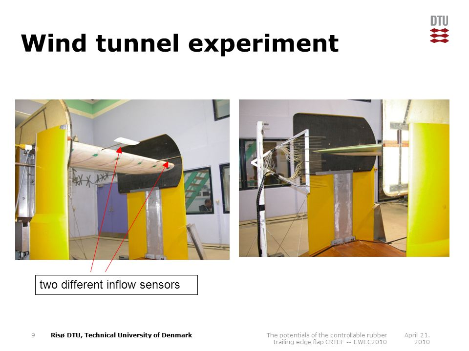 Risø DTU, Technical University of Denmark Wind tunnel experiment April 21.