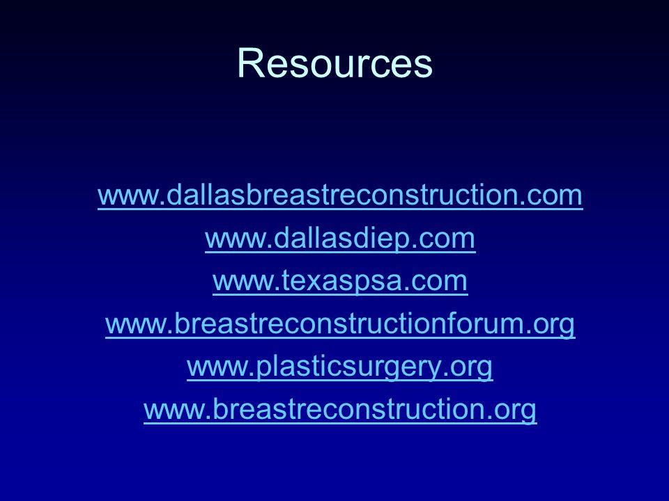 Resources www.dallasbreastreconstruction.com www.dallasdiep.com www.texaspsa.com www.breastreconstructionforum.org www.plasticsurgery.org www.breastreconstruction.org