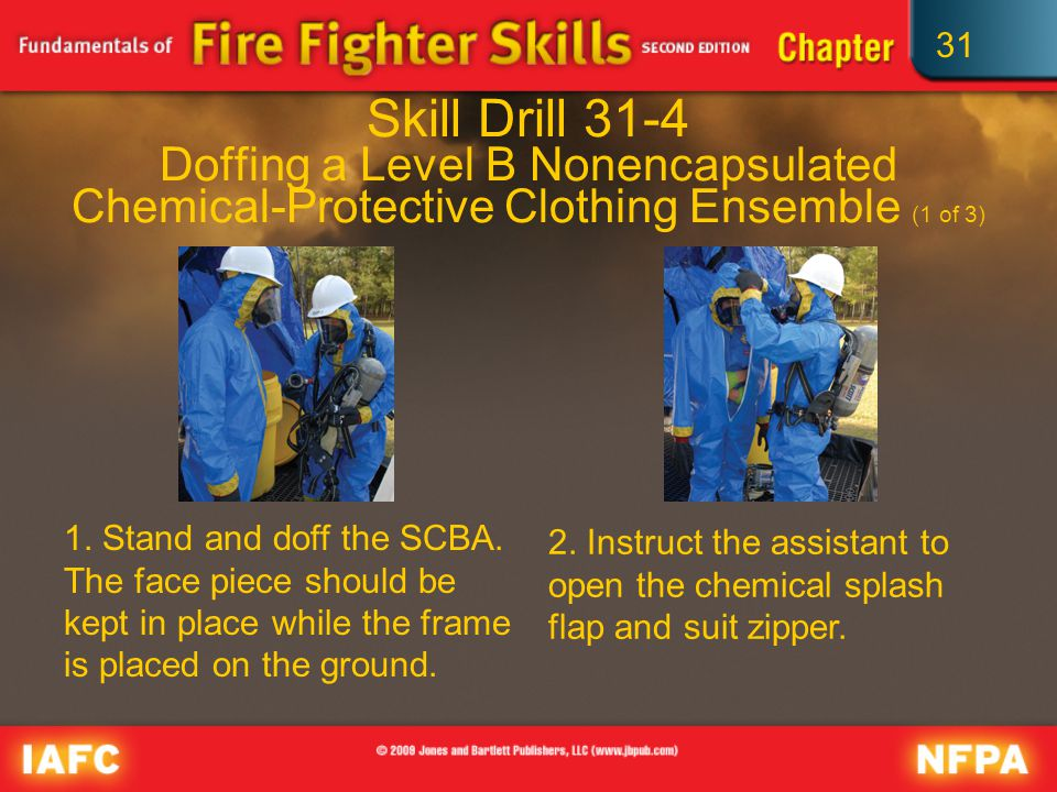 31 Skill Drill 31-4 Doffing a Level B Nonencapsulated Chemical-Protective Clothing Ensemble (1 of 3) 1.