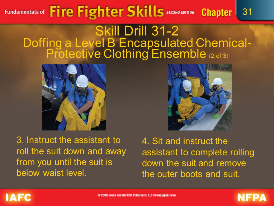 31 Skill Drill 31-2 Doffing a Level B Encapsulated Chemical- Protective Clothing Ensemble (2 of 3) 3.