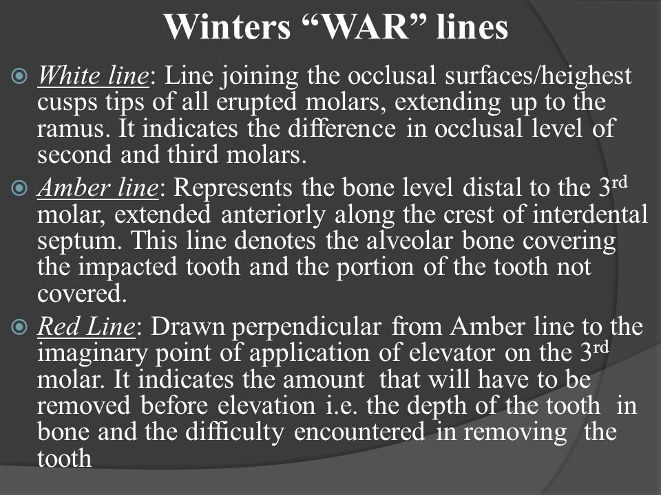 "Winters ""WAR"" lines  White line: Line joining the occlusal surfaces/heighest cusps tips of all erupted molars, extending up to the ramus. It indicate"