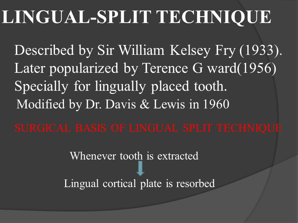 LINGUAL-SPLIT TECHNIQUE Described by Sir William Kelsey Fry (1933). Later popularized by Terence G ward(1956) Specially for lingually placed tooth. Mo