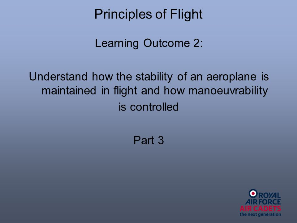 Learning Outcome 2: Understand how the stability of an aeroplane is maintained in flight and how manoeuvrability is controlled Part 3
