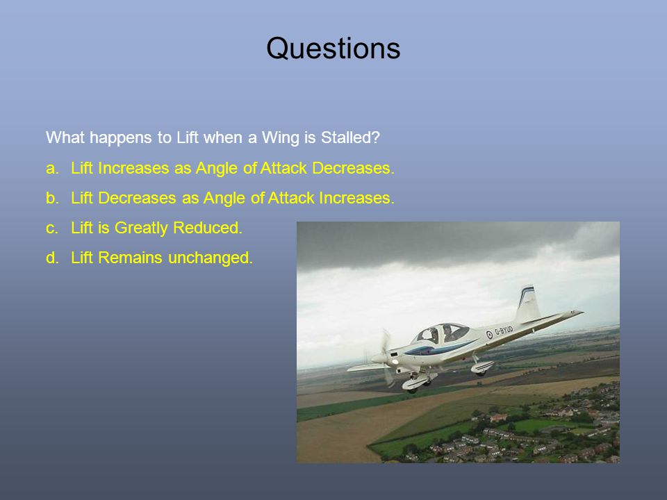 Questions What happens to Lift when a Wing is Stalled.