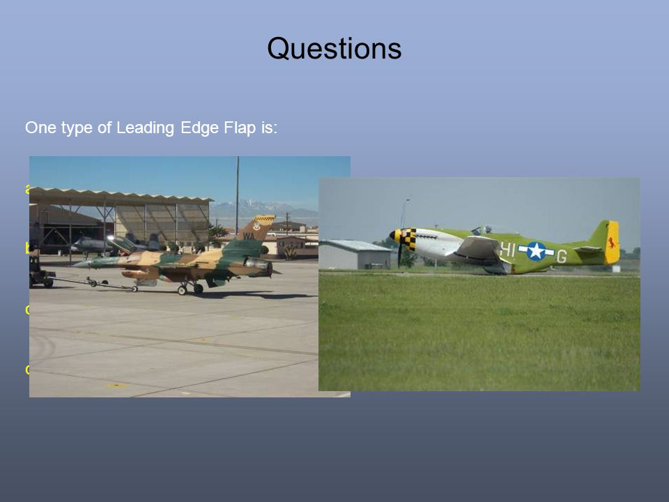 Questions One type of Leading Edge Flap is: a.Plain. b.Slot. c. Split. d. Kruger.