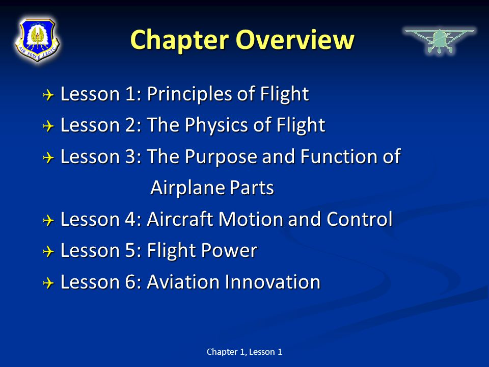 Chapter Overview  Lesson 1: Principles of Flight  Lesson 2: The Physics of Flight  Lesson 3: The Purpose and Function of Airplane Parts Airplane Pa