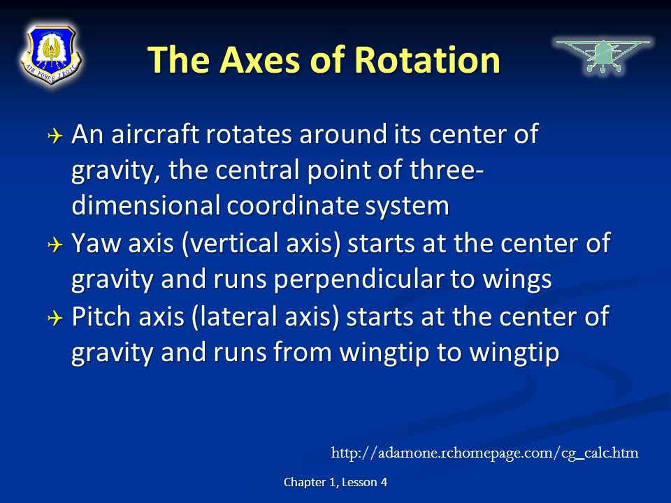 The Axes of Rotation  An aircraft rotates around its center of gravity, the central point of three- dimensional coordinate system  Yaw axis (vertica