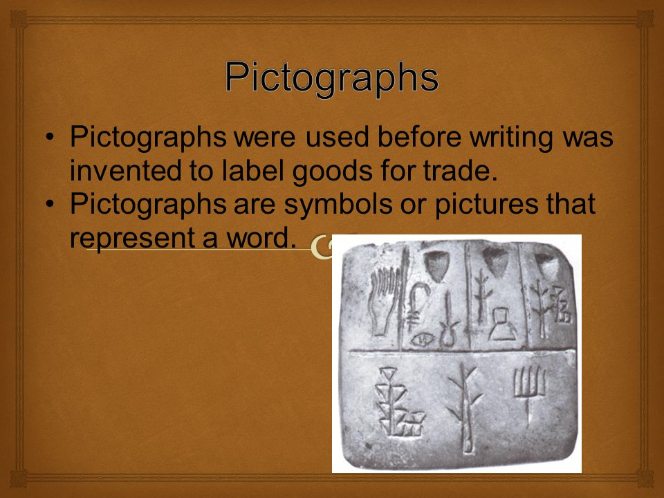 On the top of the first flap, write the word Pictograph