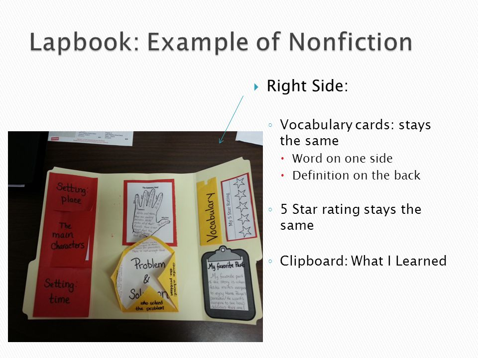  Right Side: ◦ Vocabulary cards: stays the same  Word on one side  Definition on the back ◦ 5 Star rating stays the same ◦ Clipboard: What I Learned