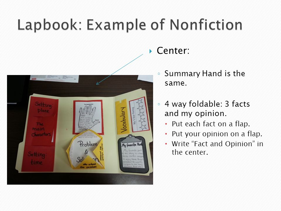  Center: ◦ Summary Hand is the same.◦ 4 way foldable: 3 facts and my opinion.