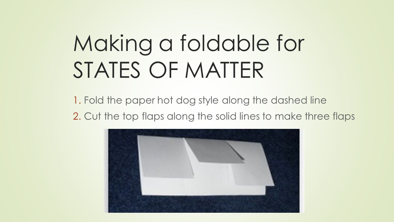 Making a foldable for STATES OF MATTER 1.Fold the paper hot dog style along the dashed line 2.Cut the top flaps along the solid lines to make three flaps
