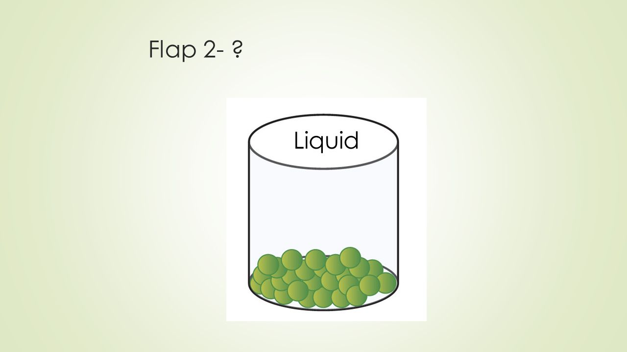 Flap #2- Speed of particles: liquid  How are the particles moving in a liquid.
