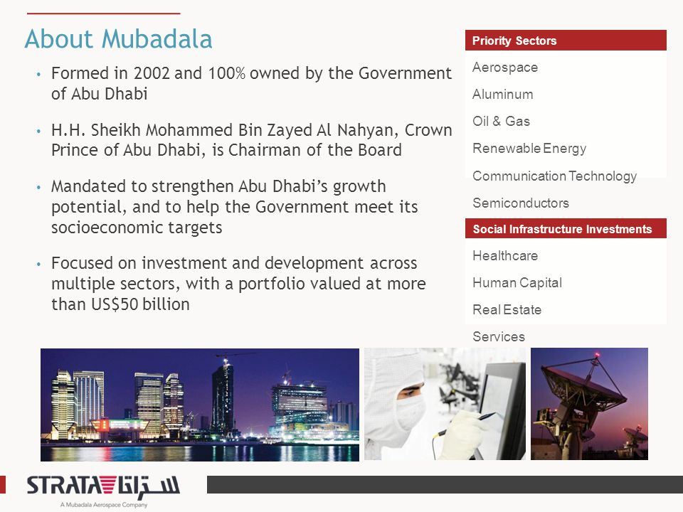 About Mubadala Formed in 2002 and 100% owned by the Government of Abu Dhabi H.H. Sheikh Mohammed Bin Zayed Al Nahyan, Crown Prince of Abu Dhabi, is Ch