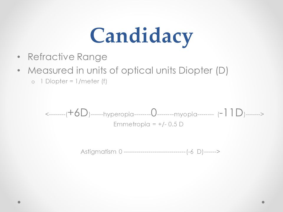 Candidacy Refractive Range Measured in units of optical units Diopter (D) o 1 Diopter = 1/meter (f) Emmetropia = +/- 0.5 D Astigmatism 0 ------------------------------(-6 D)------>