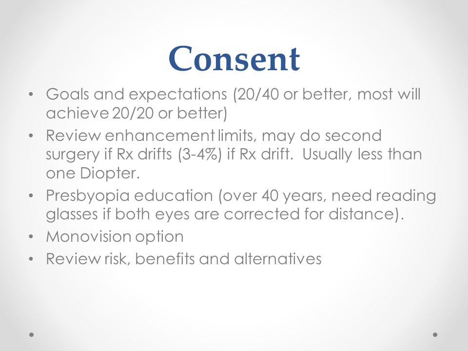 Consent Goals and expectations (20/40 or better, most will achieve 20/20 or better) Review enhancement limits, may do second surgery if Rx drifts (3-4%) if Rx drift.