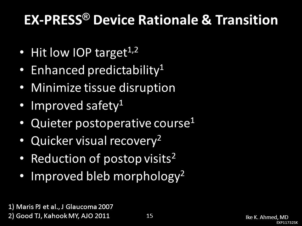 EX-PRESS ® Device Rationale & Transition Hit low IOP target 1,2 Hit low IOP target 1,2 Enhanced predictability 1 Enhanced predictability 1 Minimize ti