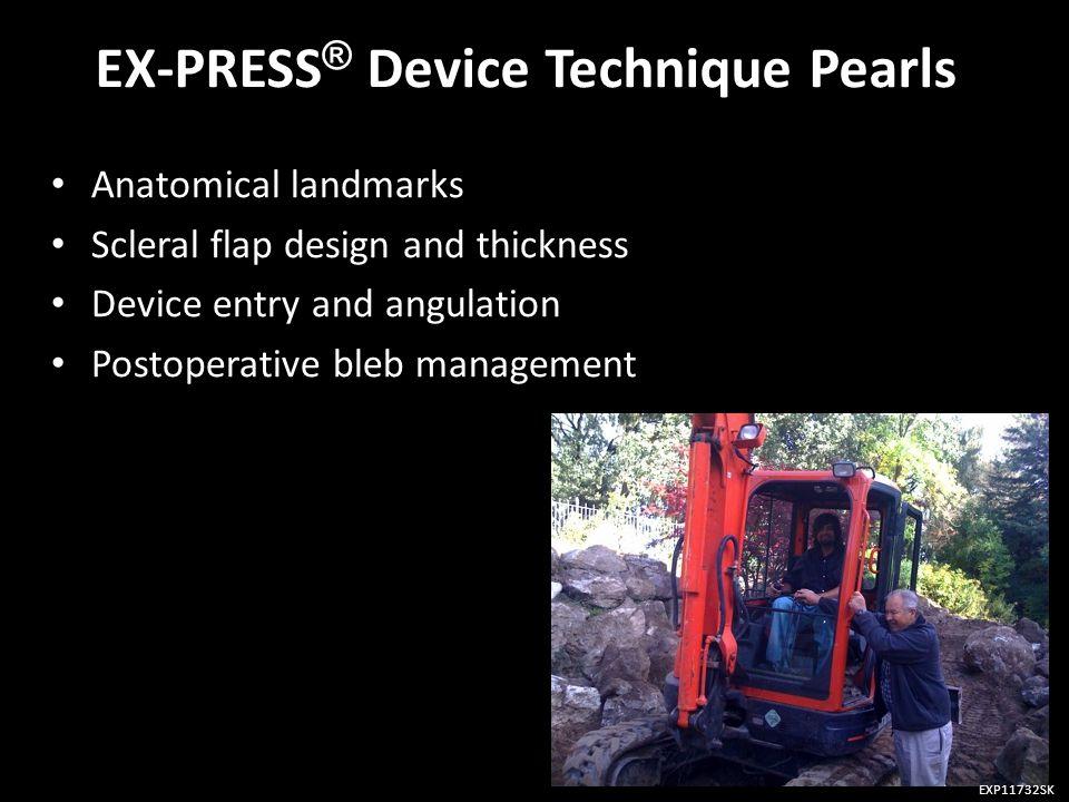 EX-PRESS ® Device Technique Pearls Anatomical landmarks Anatomical landmarks Scleral flap design and thickness Scleral flap design and thickness Devic