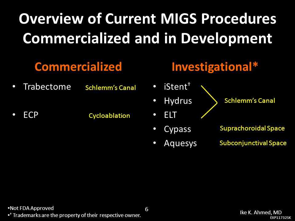 Overview of Current MIGS Procedures Commercialized and in Development Commercialized Trabectome ECP Investigational* iStent † Hydrus ELT Cypass Aquesy