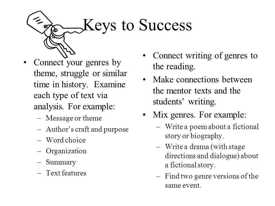 Keys to Success Connect your genres by theme, struggle or similar time in history.