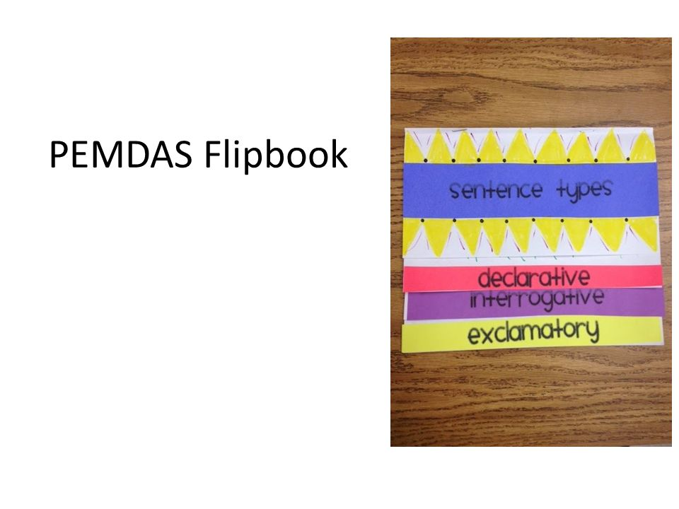 PEMDAS – Order of Operations Flipbook Students create a flipbook by folding 4 pieces of paper in a stair step fashion.