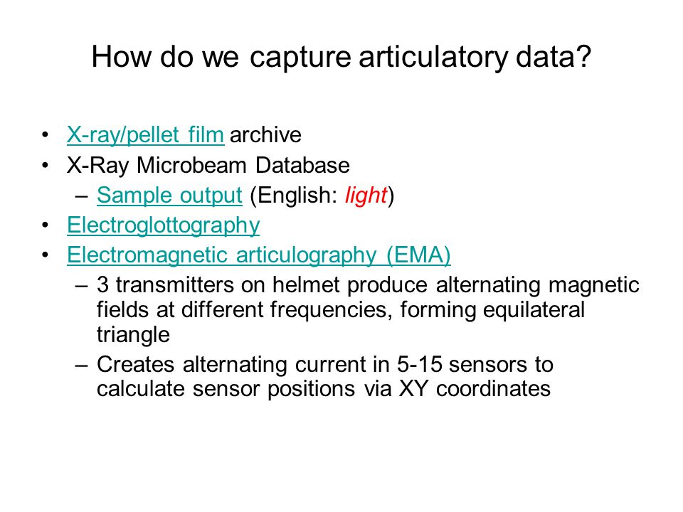 Articulators in action Examples (Sample from the Queen ' s University / ATR Labs X-ray Film Database)