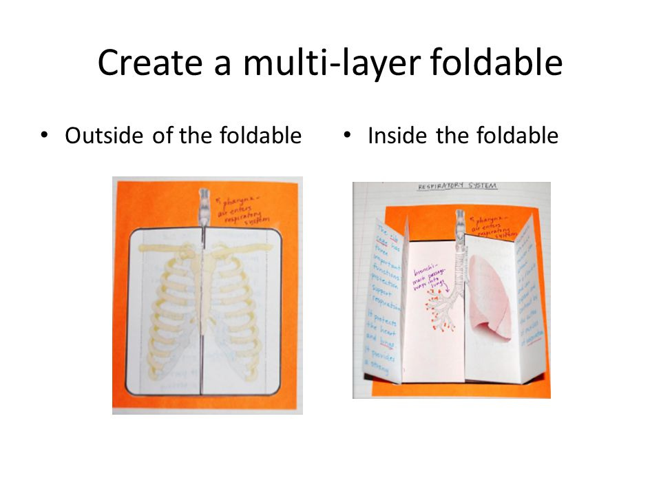 Create a multi-layer foldable Outside of the foldable Inside the foldable