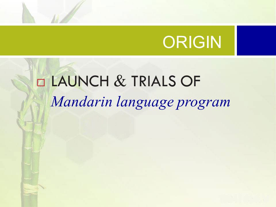 ORIGIN  LAUNCH & TRIALS OF Mandarin language program