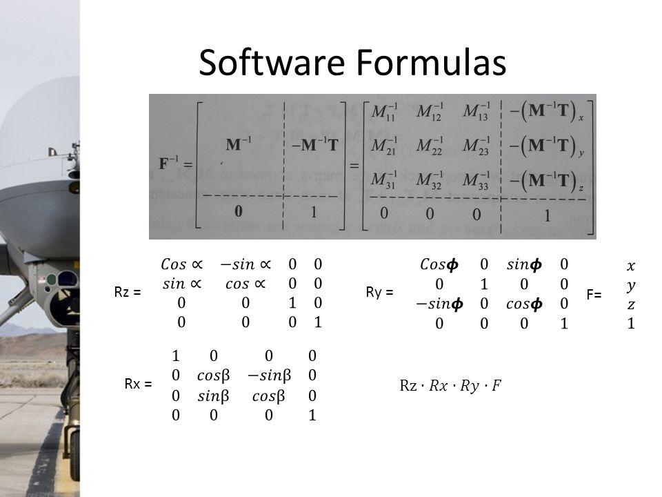 Software Formulas Rz =Ry =Rx = F=
