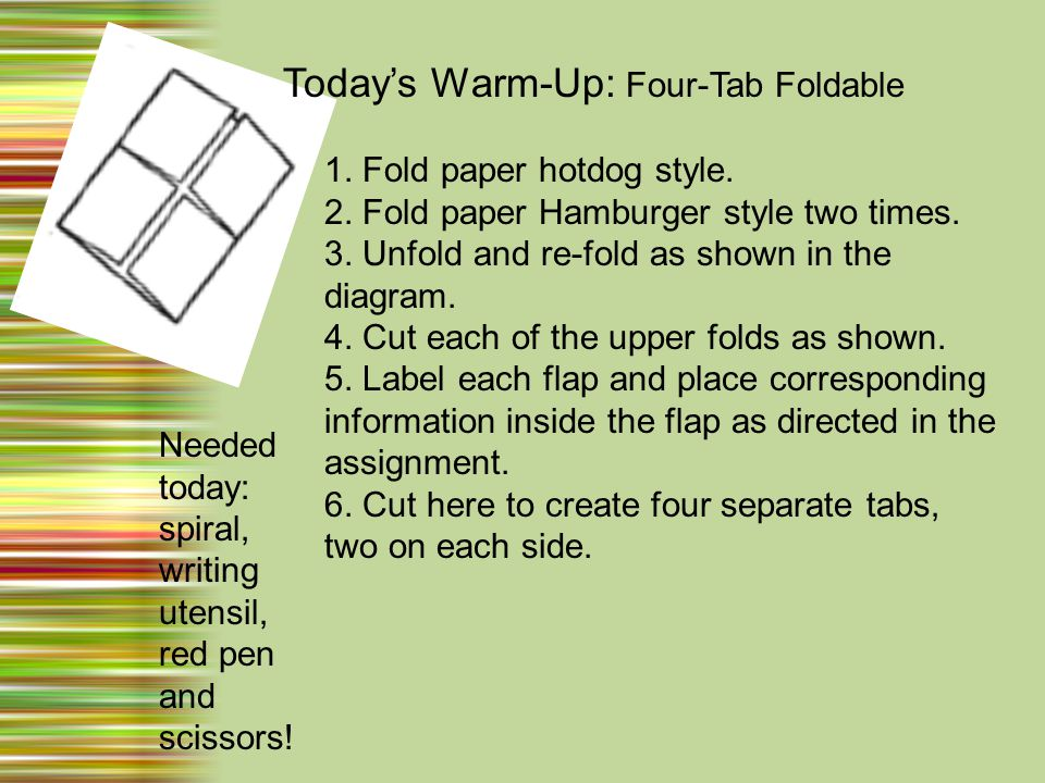 Today's Warm-Up: Four-Tab Foldable 1. Fold paper hotdog style.