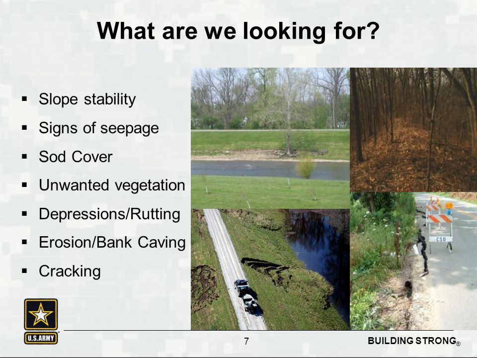 BUILDING STRONG ® What are we looking for?  Slope stability  Signs of seepage  Sod Cover  Unwanted vegetation  Depressions/Rutting  Erosion/Bank