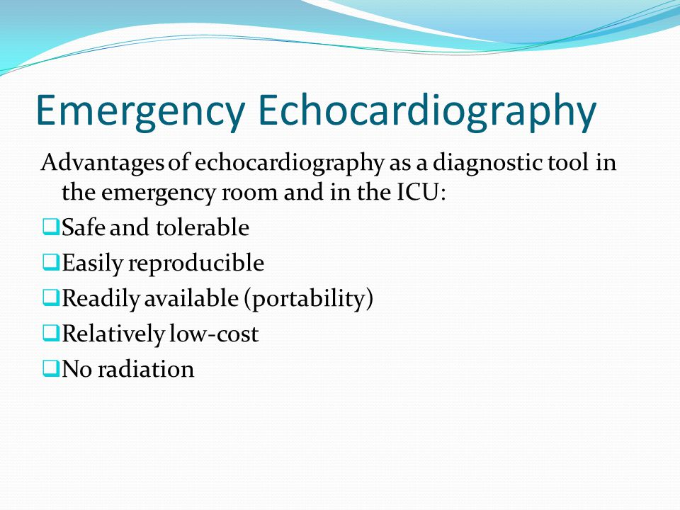 Emergency Echocardiography What emergency situations should be assessed.