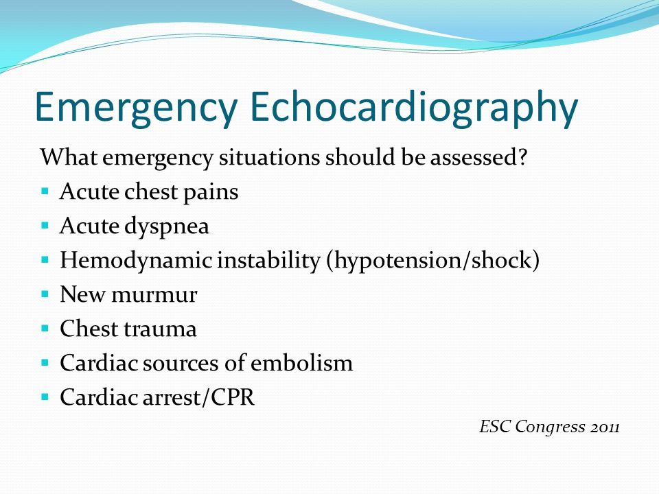 Emergency Echocardiography Where can emergency echocardiography be performed.