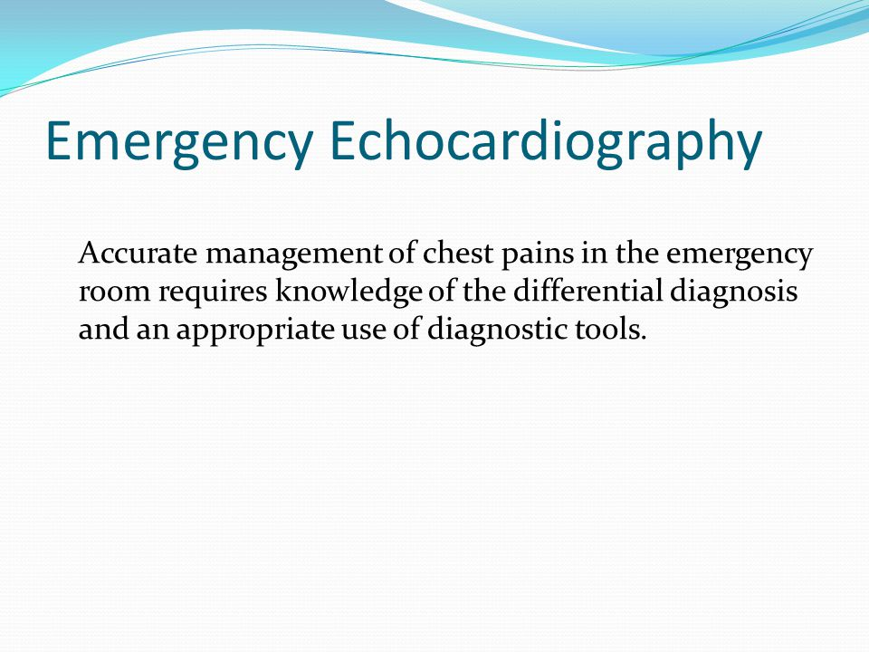 Emergency Echocardiography: Acute Chest Pains