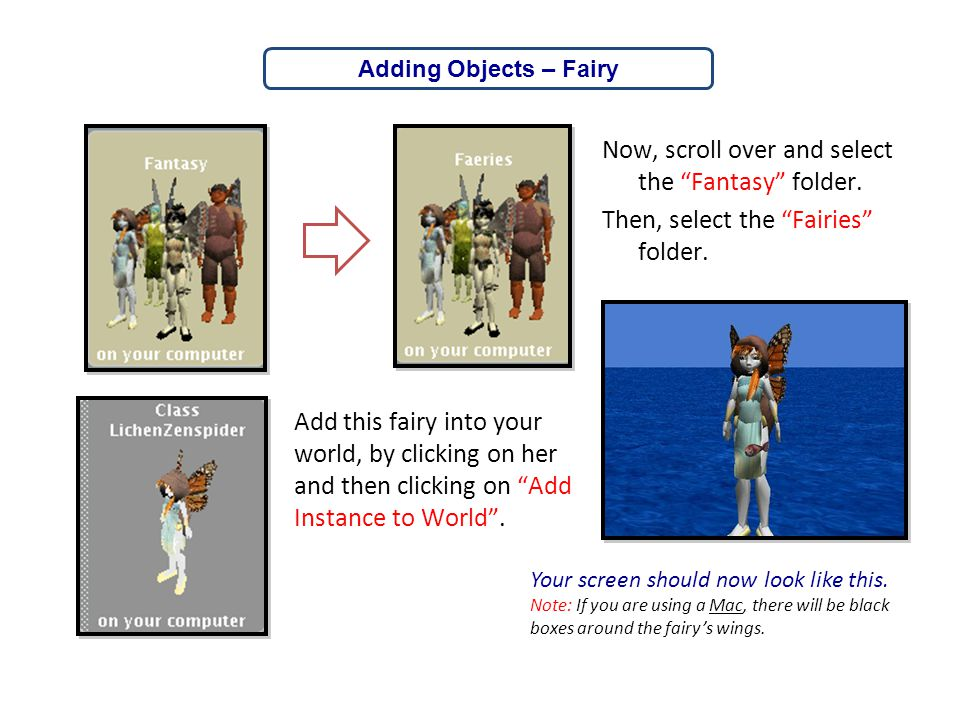 """Now, scroll over and select the """"Fantasy"""" folder. Then, select the """"Fairies"""" folder. Adding Objects – Fairy Add this fairy into your world, by clickin"""