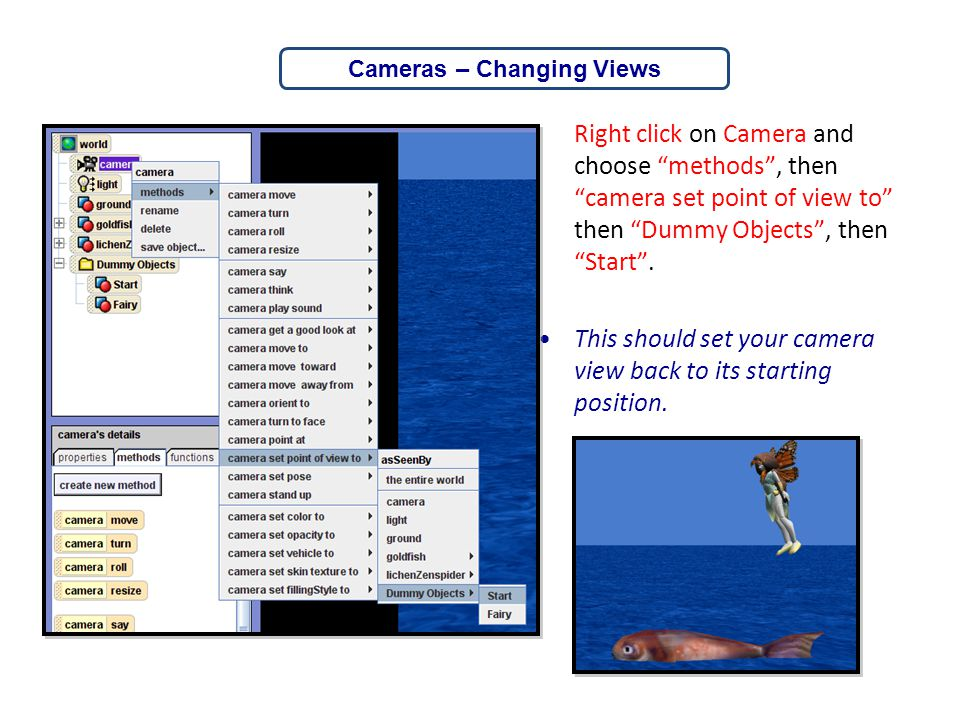 """Right click on Camera and choose """"methods"""", then """"camera set point of view to"""" then """"Dummy Objects"""", then """"Start"""". This should set your camera view ba"""