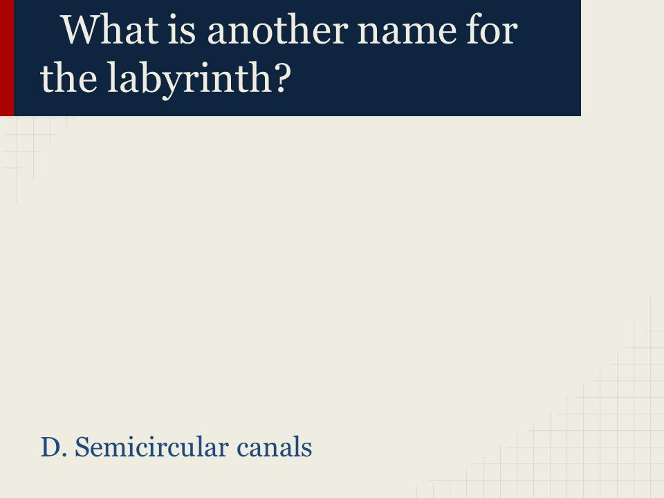 What is another name for the labyrinth? D. Semicircular canals