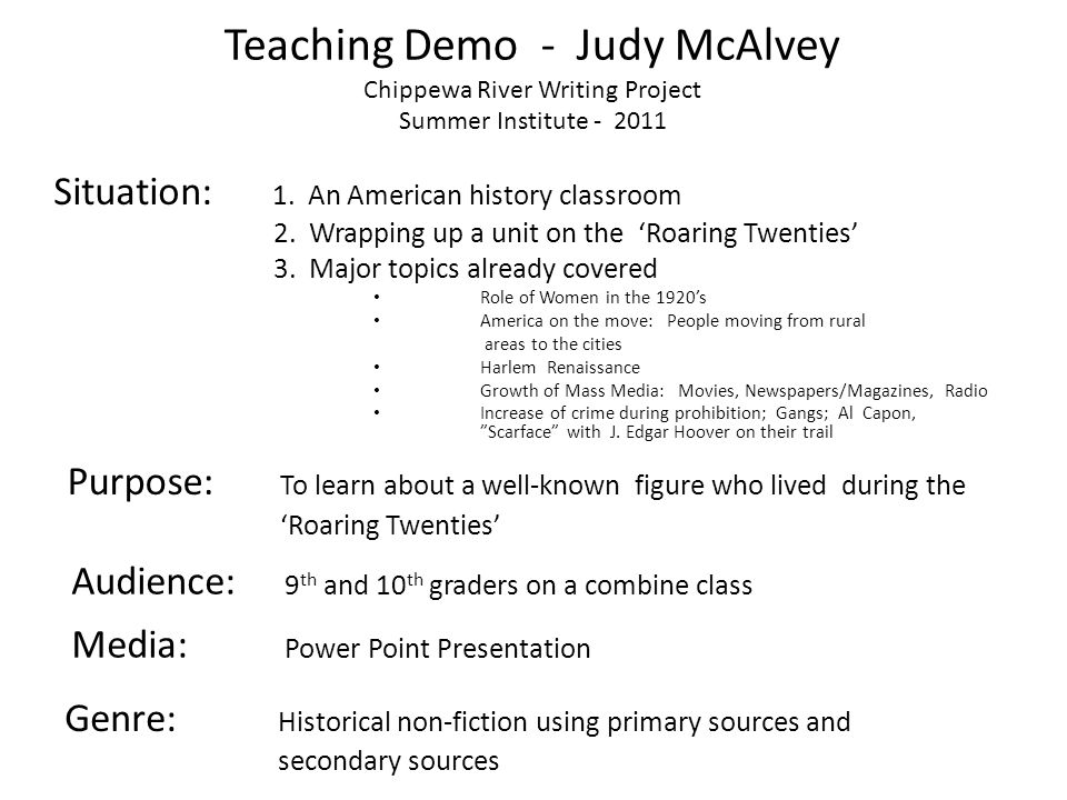 Teaching Demo - Judy McAlvey Chippewa River Writing Project Summer Institute - 2011 Situation: 1. An American history classroom 2. Wrapping up a unit