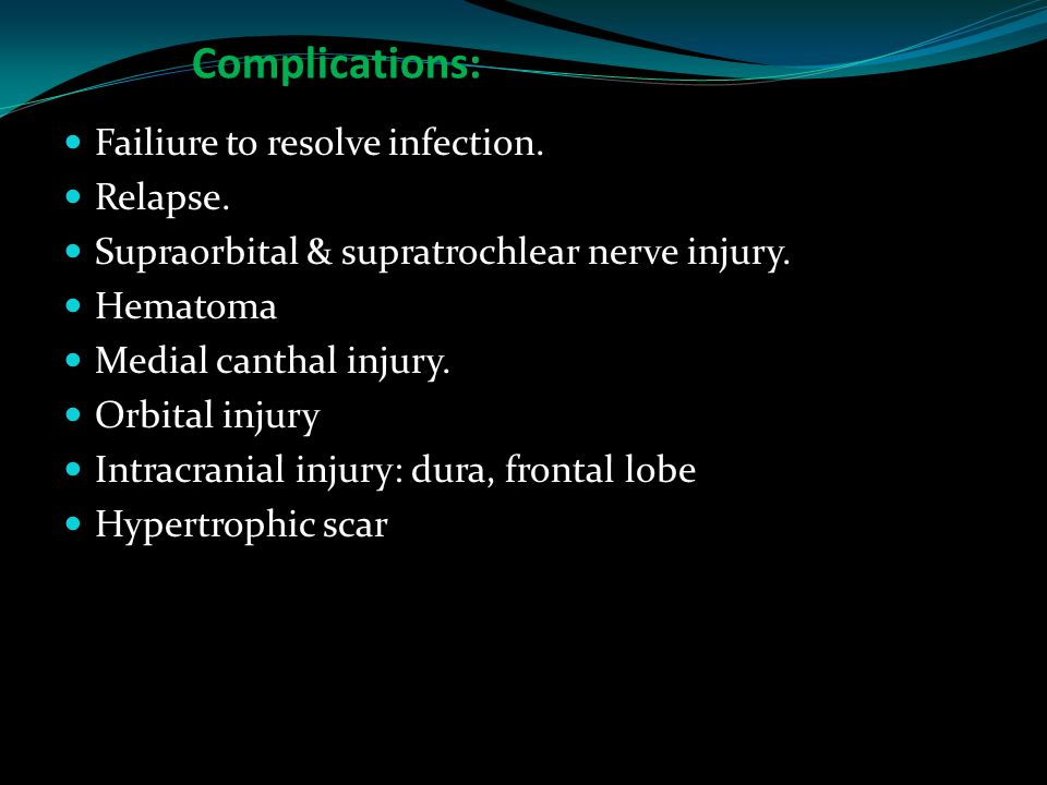 Complications: Failiure to resolve infection. Relapse. Supraorbital & supratrochlear nerve injury. Hematoma Medial canthal injury. Orbital injury Intr