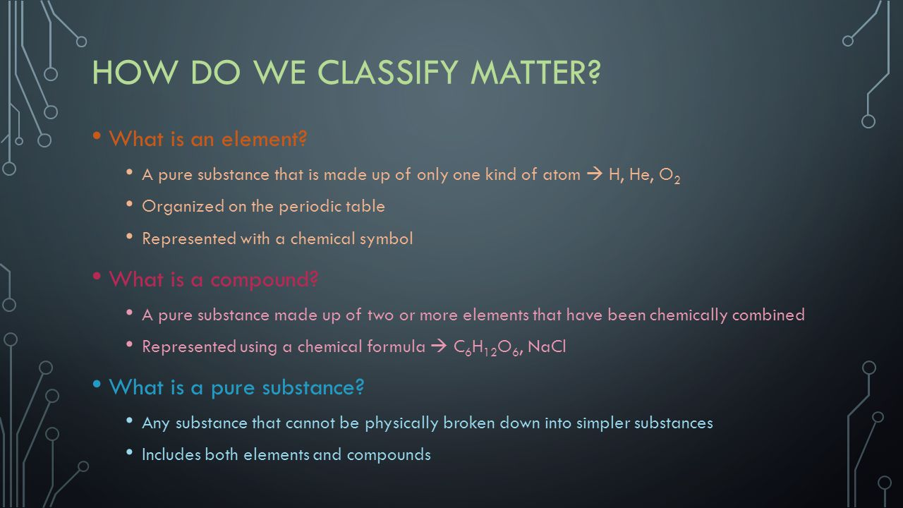 HOW DO WE CLASSIFY MATTER? What is an element? A pure substance that is made up of only one kind of atom  H, He, O 2 Organized on the periodic table