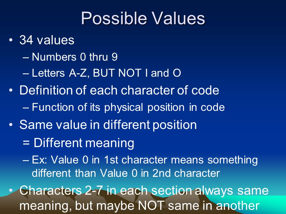 Possible Values 34 values –Numbers 0 thru 9 –Letters A-Z, BUT NOT I and O Definition of each character of code –Function of its physical position in c