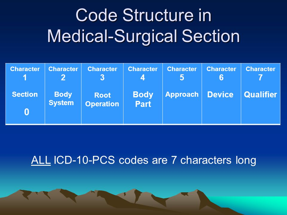 Code Structure in Medical-Surgical Section Character 1 Section 0 Character 2 Body System Character 3 Root Operation Character 4 Body Part Character 5