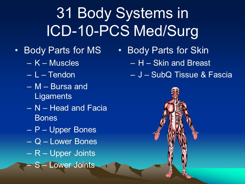 31 Body Systems in ICD-10-PCS Med/Surg Body Parts for MS –K – Muscles –L – Tendon –M – Bursa and Ligaments –N – Head and Facia Bones –P – Upper Bones