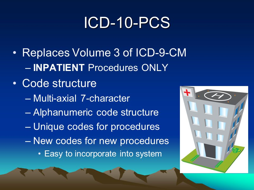 ICD-10-PCS Replaces Volume 3 of ICD-9-CM –INPATIENT Procedures ONLY Code structure –Multi-axial 7-character –Alphanumeric code structure –Unique codes