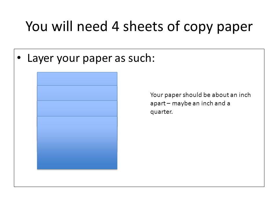You will need 4 sheets of copy paper Layer your paper as such: Your paper should be about an inch apart – maybe an inch and a quarter.