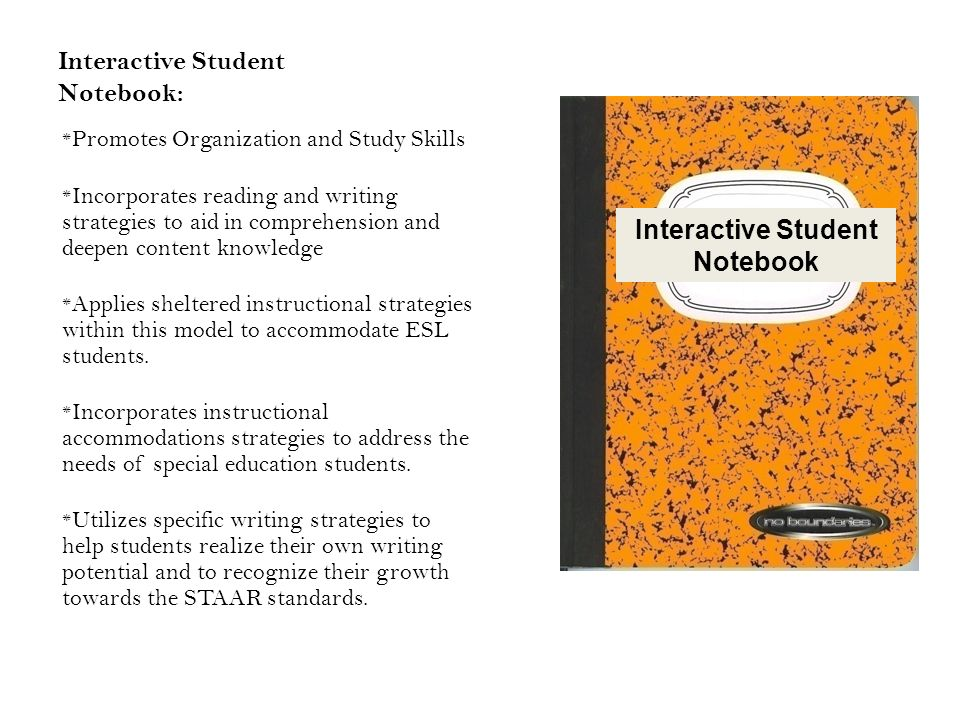 Interactive Student Notebook: * Promotes Organization and Study Skills * Incorporates reading and writing strategies to aid in comprehension and deepen content knowledge * Applies sheltered instructional strategies within this model to accommodate ESL students.