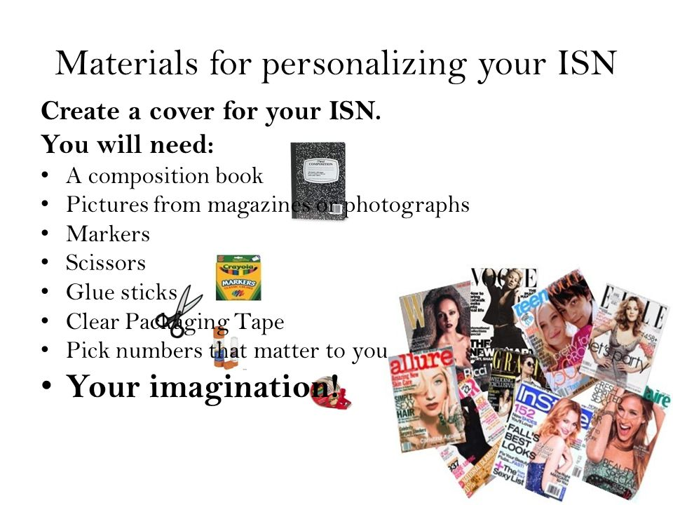 Materials for personalizing your ISN Create a cover for your ISN.