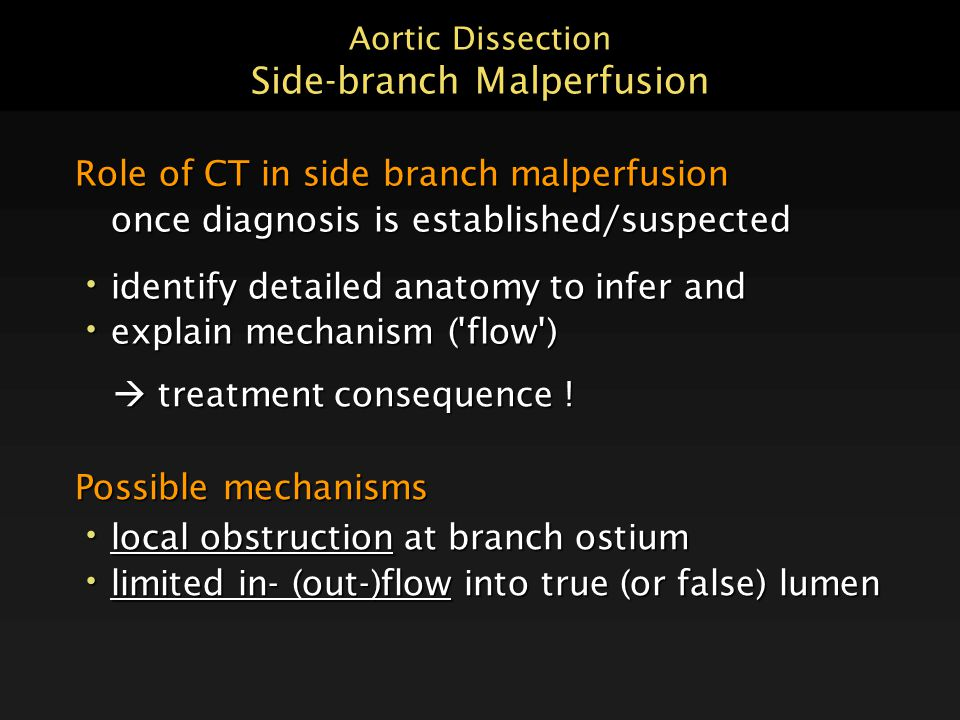 Aortic Dissection Side-branch Malperfusion Possible mechanisms local obstruction at branch ostium local obstruction at branch ostium limited in- (out-