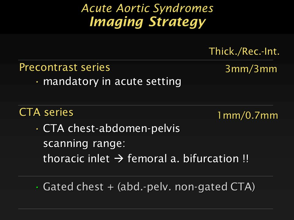 Acute Aortic Syndromes Imaging Strategy Precontrast series mandatory in acute settingmandatory in acute setting CTA series CTA chest-abdomen-pelvisCTA chest-abdomen-pelvis scanning range: scanning range: thoracic inlet  femoral a.